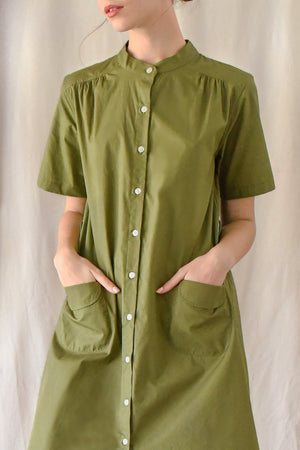Lawn Buttondown Dress/ Verde