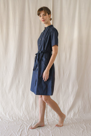 Lawn Buttondown Dress/ Deep Navy