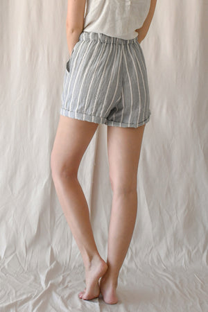 (Pre-Order) Jill Drawstring Shorts / Dove Stripes
