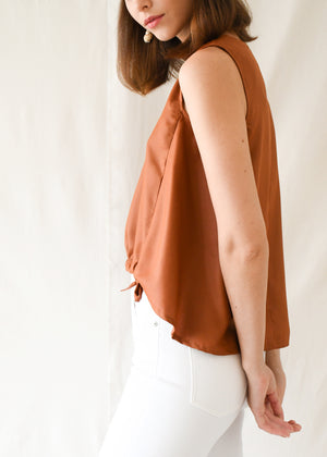 Drawstring Shell Top / Rust