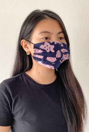 Reusable Face Mask / Navy Fruits