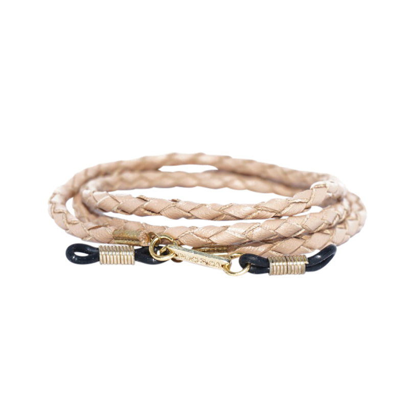 Glasses Cord - Camel Braided Leather