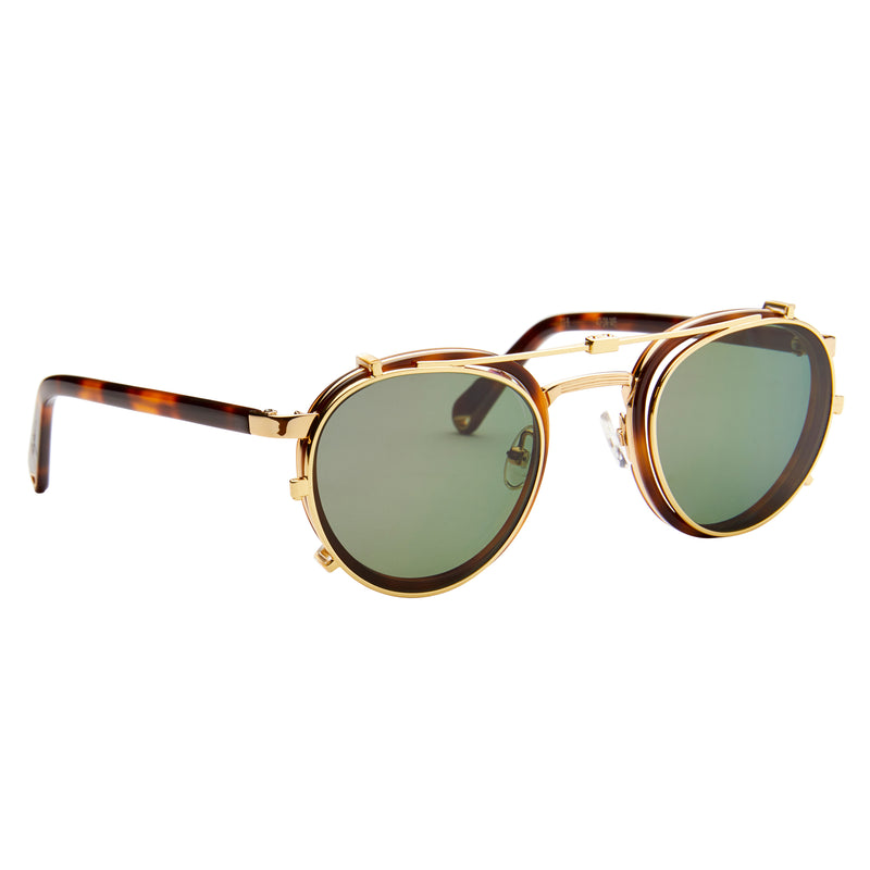 Carter Sun Lens Clip - Gold Steel with Green Polarised Lens