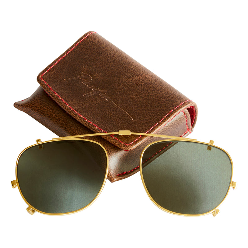 Campbell Sun Clip-On Lens - Gold Steel with Green Polarised Lens