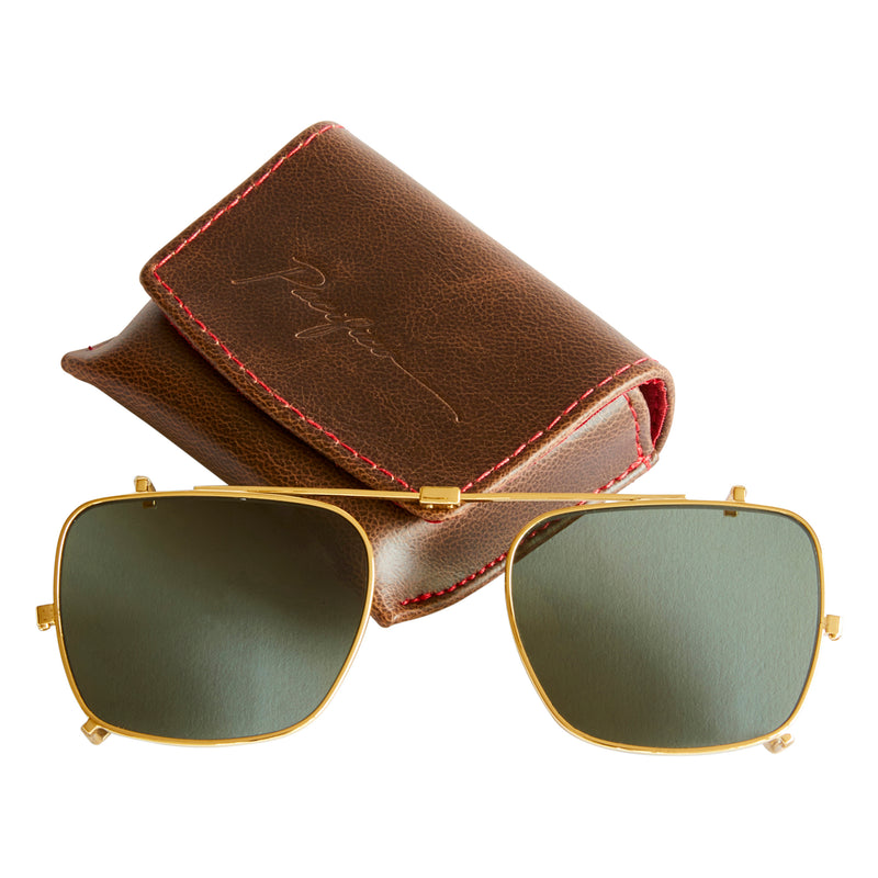 Wallis Sun Lens Clip - Gold with Green Polarised Lens