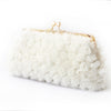 Rosebuds Floral Bridal Clutch in White
