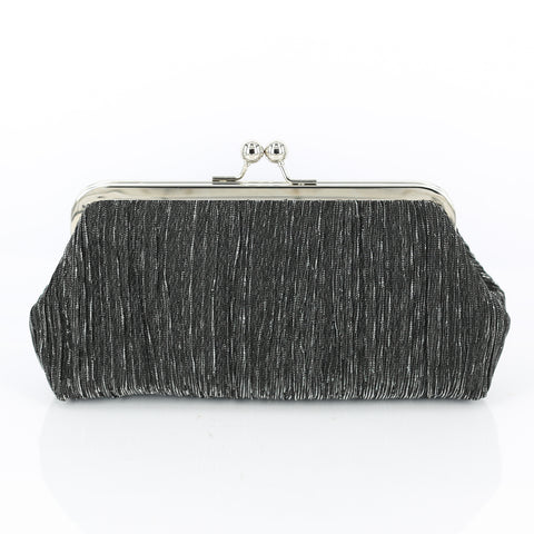 Crinkled Black Clutch Bag