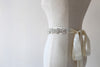 Vintage Inspired Pearl Hand Embroidery Silver Bridal Sash | Geometric by ANGEE W.