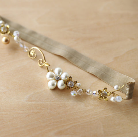 Antique Gold Flower Pearl Bridal Garter | Bernadette by ANGEE W.