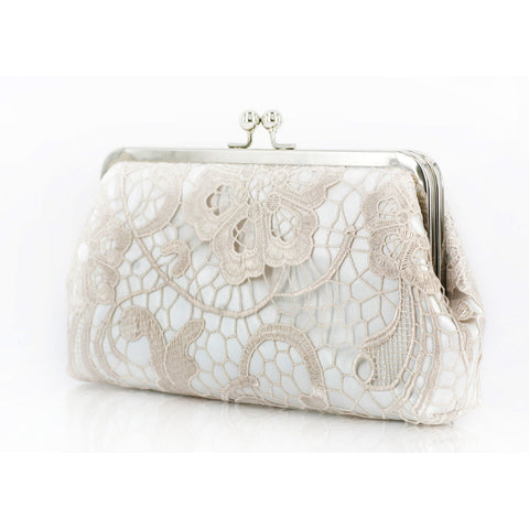 Bridal Floral Lace Clutch in Ivory | L'HERITAGE
