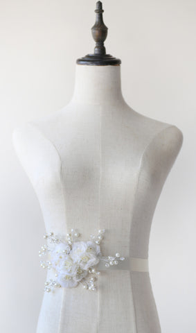 Orgaza Flower Cluster Bridal Belt / Sash | Flower Cluster by ANGEE W.