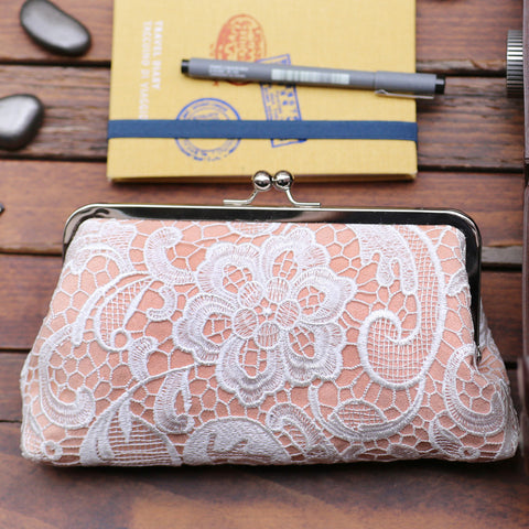 Peach: Floral Lace Clutch in Pastel and White - L'HERITAGE ANGEEW