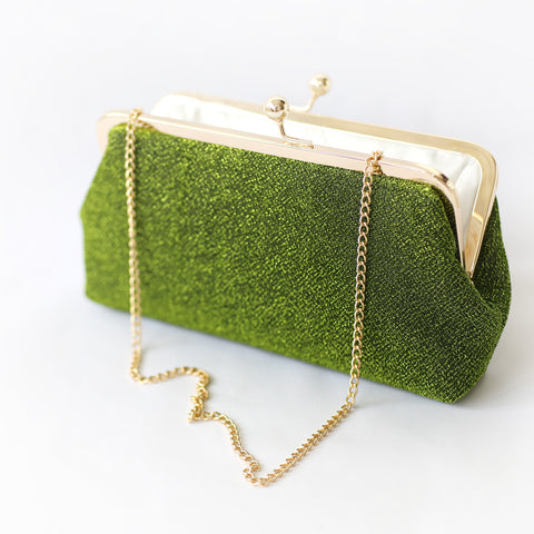 Sparkly Metallic Clutch in Green