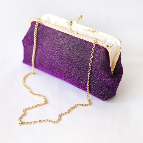 Sparkly Metallic Clutch in Purple