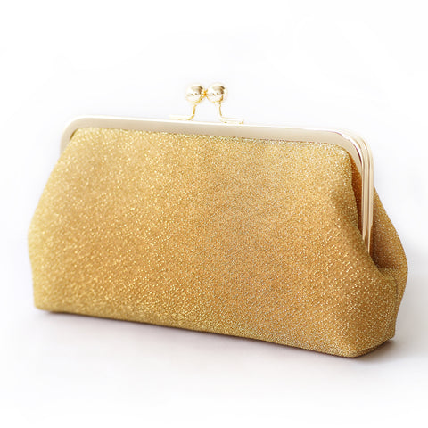 Sparkly Metallic Clutch in Gold