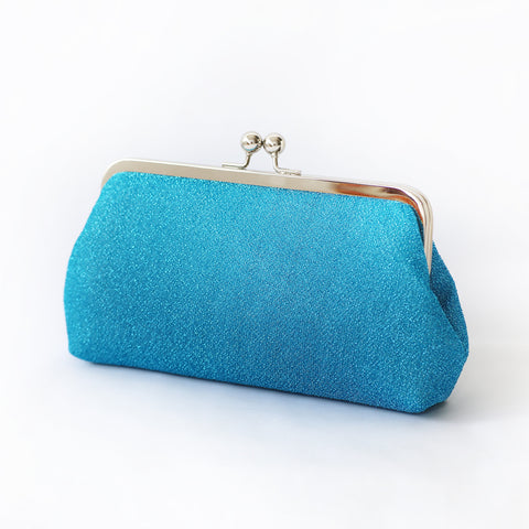 Sparkly Metallic Clutch in Blue