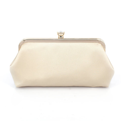 Champagne Satin Clutch Bag