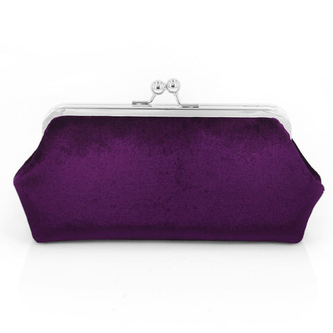 Purple Velvet Photo Clutch Bag