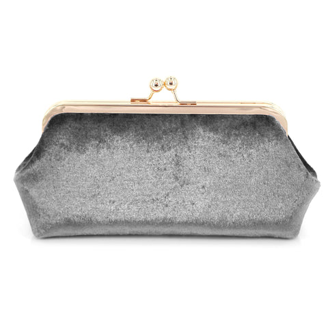 Grey Velvet Photo Clutch Bag