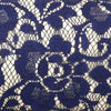 Navy Blue Peony Lace Champagne Satin Clutch Bag