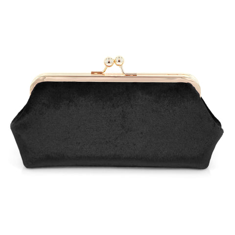 Black Velvet Photo Clutch Bag