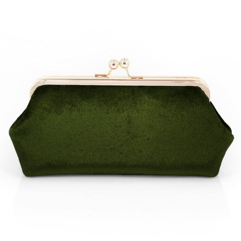 Hunter Green Velvet Clutch Bag