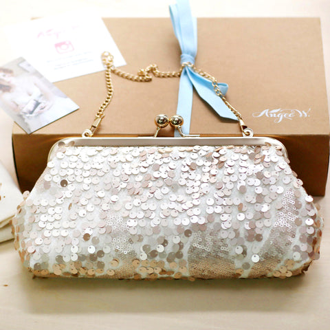 Champagne Gold Sequins Clutch Bag