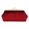 Deep Red Burgundy Velvet Clutch Bag