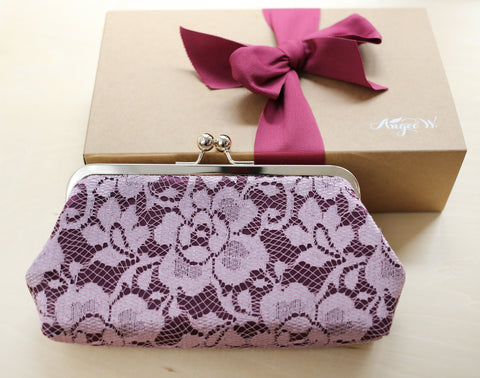 Mauve Purple Peony Lace Clutch Bag