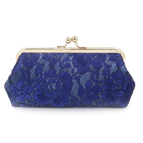 Navy Blue Peony Lace Navy Satin Clutch Bag