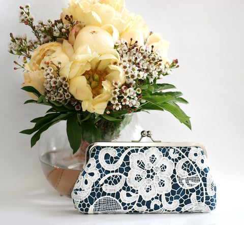 Navy: Floral Lace Clutch in Pastel and White - L'HERITAGE ANGEEW