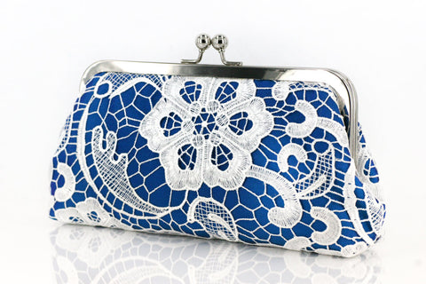 Cobalt: Floral Lace Clutch in Pastel and White - L'HERITAGE ANGEEW