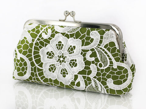Olive Green: Floral Lace Clutch in Pastel and White - L'HERITAGE ANGEEW