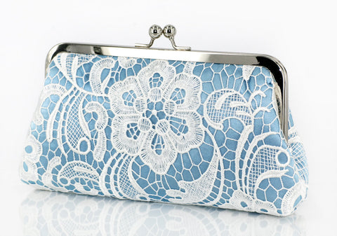 Baby Blue: Floral Lace Clutch in Pastel and White - L'HERITAGE ANGEEW