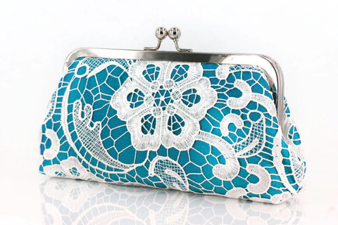Turquoise: Floral Lace Clutch in Pastel and White - L'HERITAGE ANGEEW