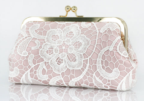 Blush: Floral Lace Clutch in Pastel and White - L'HERITAGE ANGEEW