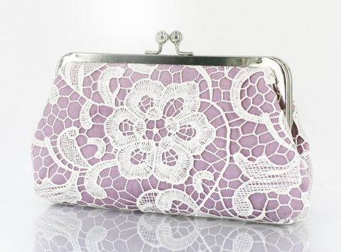 Lilac: Floral Lace Clutch in Pastel and White - L'HERITAGE ANGEEW
