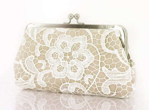 Champagne: Floral Lace Clutch in Pastel and White - L'HERITAGE ANGEEW
