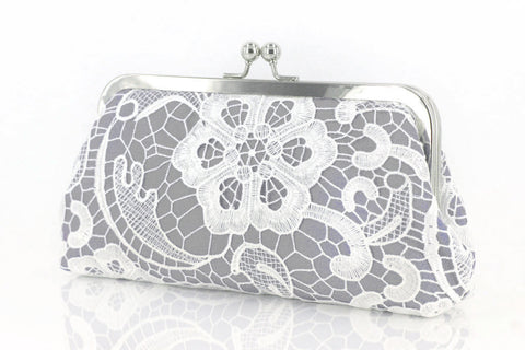 Grey: Floral Lace Clutch in Pastel and White - L'HERITAGE ANGEEW