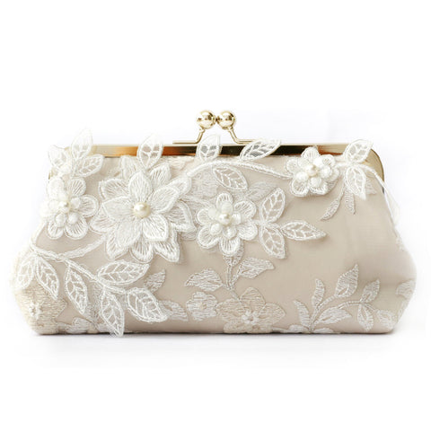 Magnolia Bridal Clutch in Champagne