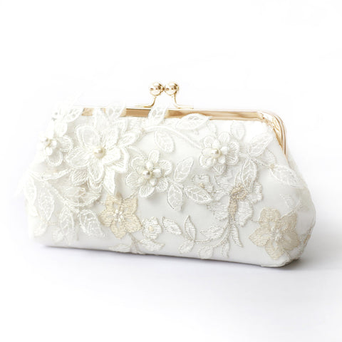Magnolia Bridal Clutch in Ivory