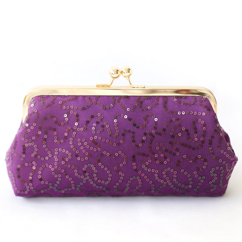 Mauve Sequins Clutch Bag
