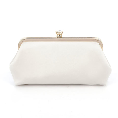 Bridal Ivory Satin Clutch Bag
