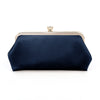 Navy Blue Satin Clutch Bag