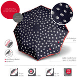 Knirps® T 200 Duomatic Solids Umbrella - Navy Dots UV Protection Canopy