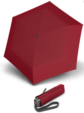 Knirps Travel Umbrella - Red UV Protection