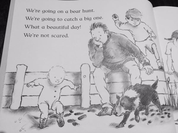 "Image of open book ""We're going on a bear hunt"""