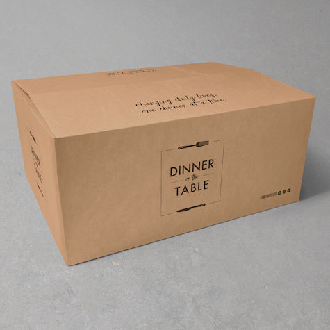 meals packed in a cardboard box ready for home delivery