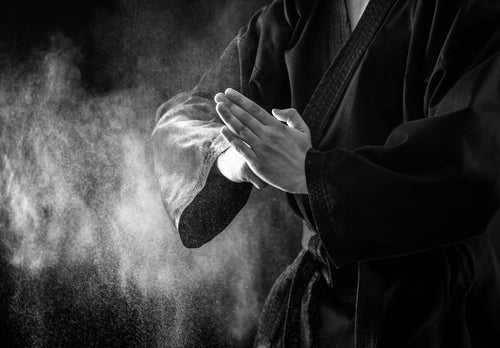 Black and white image of hands in a karate pose