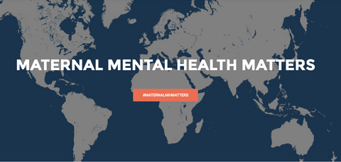 The words maternal mental health matters on a background of a world map